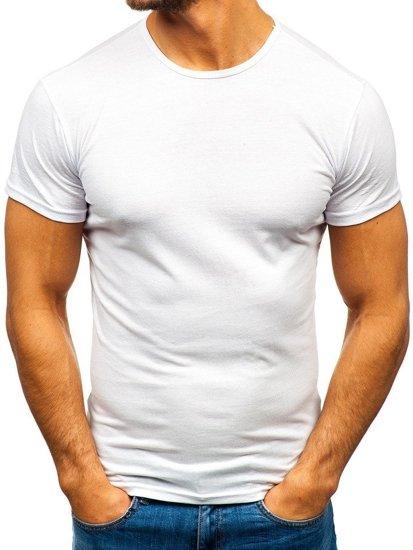 Biele pánske tričko bez potlače Bolf 0001