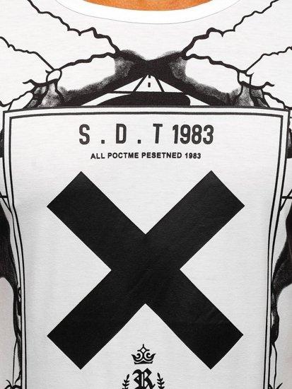 Biele pánske tričko s potlačou BOLF 10875