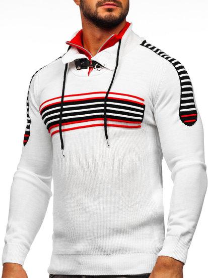 Bielo-červený pánsky sveter BOLF 1013
