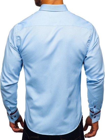Blankytná pánska elegantá košeľa s dlhými rukávmi BOLF 5801-A