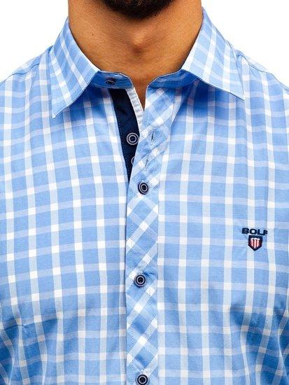 Blankytná pánska elegantná károvaná košeľa s dlhými rukávmi BOLF 4747