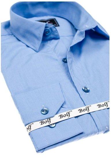 Blankytná pánska elegantná košeľa s dlhými rukávmi BOLF 6944