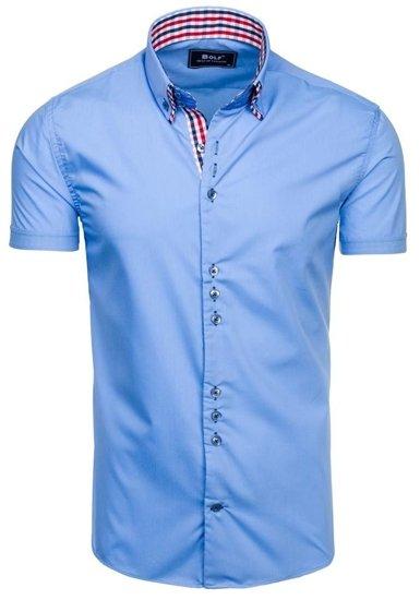 Blankytná pánska elegantná košeľa s krátkymi rukávmi BOLF 3507