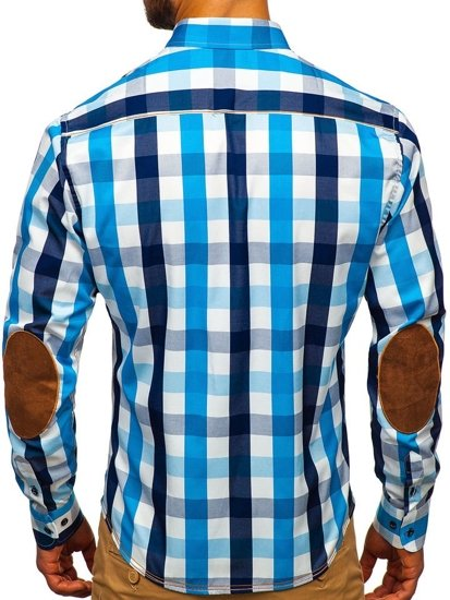Blankytná pánska károvaná košeľa s dlhými rukávmi Bolf 1766-1