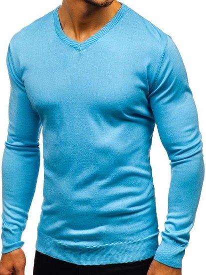 Blankytný pánsky sveter s výstrihom do V BOLF 2200