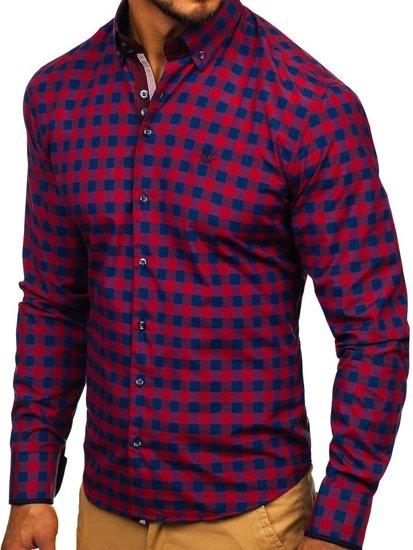 Bordová pánska károvaná košeľa s dlhými rukávmi BOLF 4701