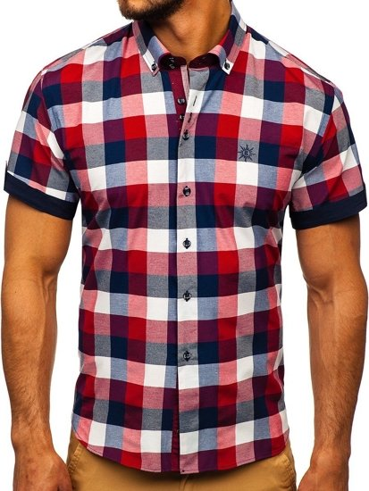 Bordová pánska károvaná košeľa s krátkymi rukávmi Bolf 5532