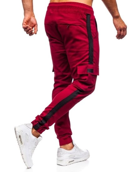 Bordové pánske kapsáčové joggery Bolf 11117