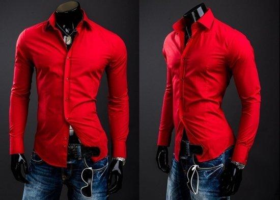 Červená pánska elegantná košeľa s dlhými rukávmi Bolf 1703A