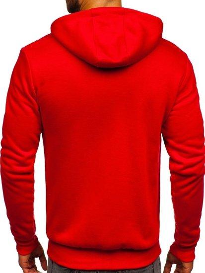 Červená  pánska mikina na zips s kapucňou Bolf DD02