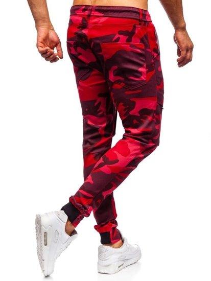 Červené maskáčové pánske kapsáčové joggery Bolf  1003