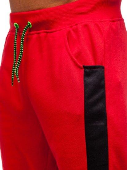 Červené pánske teplákové kraťasy BOLF 81023