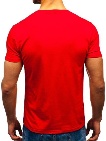 Červené pánske tričko s potlačou BOLF 10830