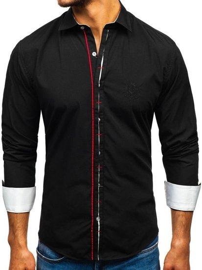 Čierna pánska elegantá košeľa s dlhými rukávmi BOLF 1769