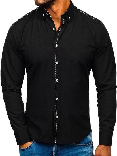 Čierna pánska elegantá košeľa s dlhými rukávmi BOLF 6920