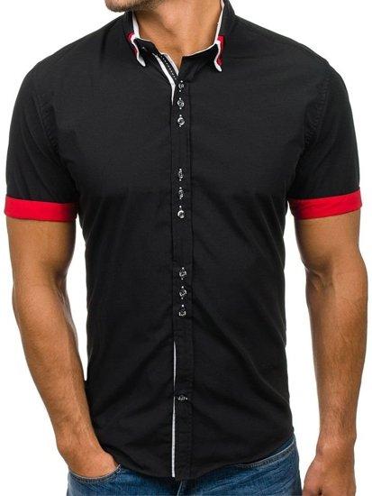 Čierna pánska elegantná košeľa s krátkymi rukávmi Bolf 2926-A