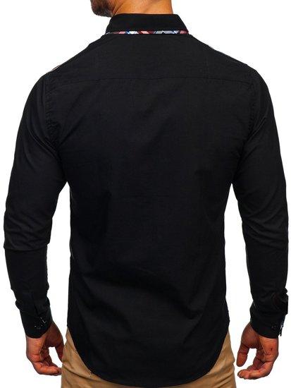 Čierna pánska elegantná košeľa s dlhými rukávmi BOLF 2705