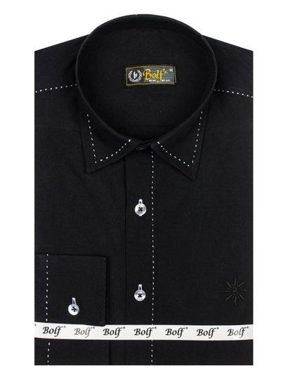 Čierna pánska elegantná košeľa s dlhými rukávmi BOLF 4719