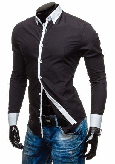 Čierna pánska elegantná košeľa s dlhými rukávmi BOLF 5798