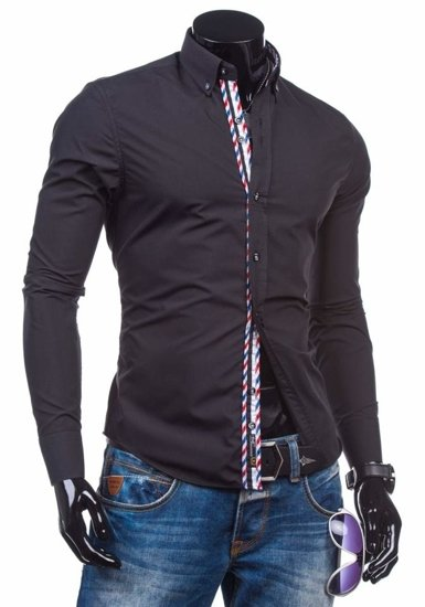 Čierna pánska elegantná košeľa s dlhými rukávmi BOLF 5820