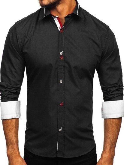 Čierna pánska elegantná košeľa s dlhými rukávmi BOLF 5826