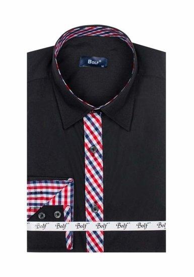 Čierna pánska elegantná košeľa s dlhými rukávmi BOLF 6867