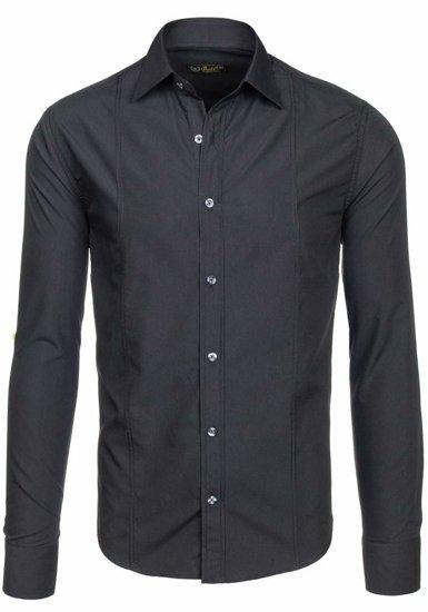 Čierna pánska elegantná košeľa s dlhými rukávmi Bolf 4705G