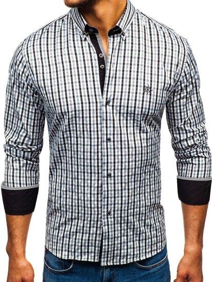 Čierna pánska károvaná vichy košeľa s dlhými rukávmi BOLF 4712
