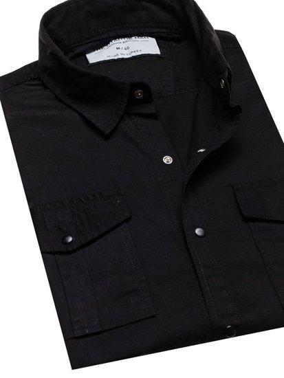 Čierna pánska košeľa s dlhými rukávmi BOLF 2058-1