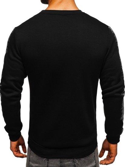Čierna pánska mikina bez kapucne s potlačou Bolf HY604