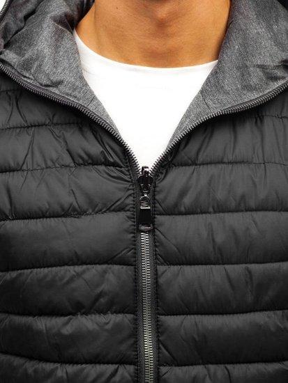 Čierna pánska obojstranná vesta s kapucňou BOLF 1251