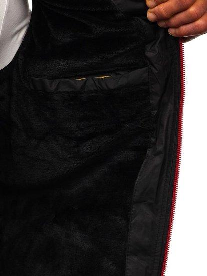 Čierna pánska prešívaná vesta s kapucňou BOLF 5802