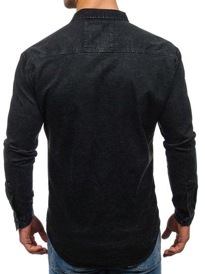 Čierna pánska riflová košeľa s dlhými rukávmi BOLF 2050