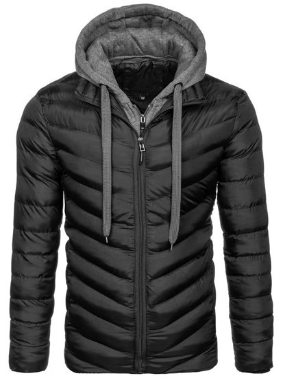 Čierna pánska športová zimná bunda BOLF SM08