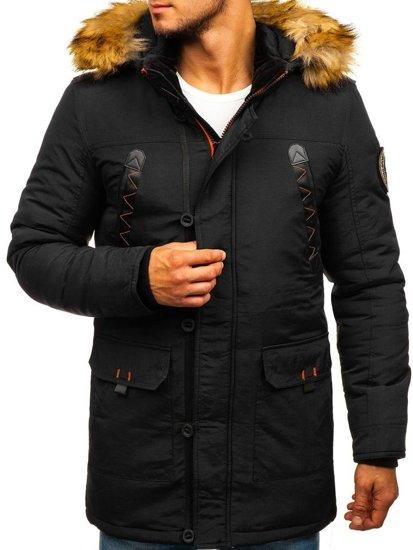 Čierna pánska zimná bunda parka BOLF 5312