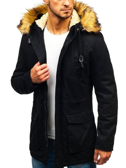 Čierna pánska zimná bunda parka BOLF 88709