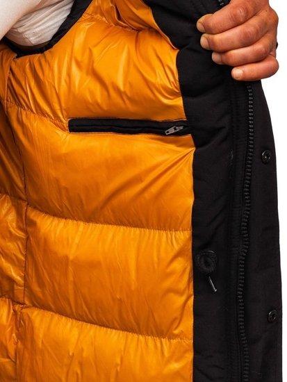 Čierna pánska zimná bunda parka Bolf 5841