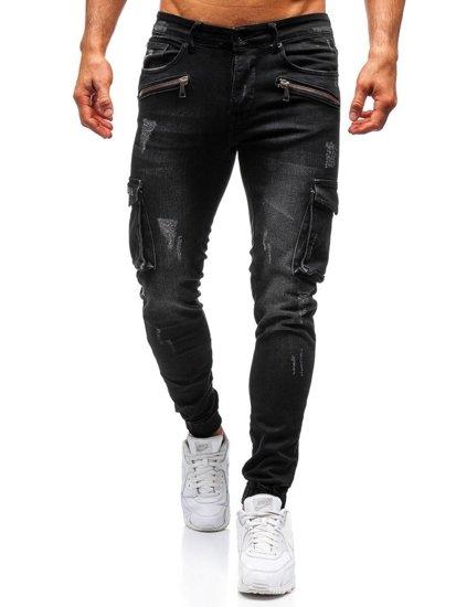 Čierne pánske riflové joggery BOLF 3002