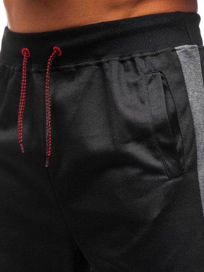 Čierne pánske teplákové kraťasy BOLF 81006