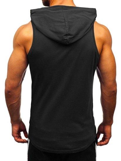 Čierne pánske tričko bez rukávov s potlačou a kapucňou BOLF 1280