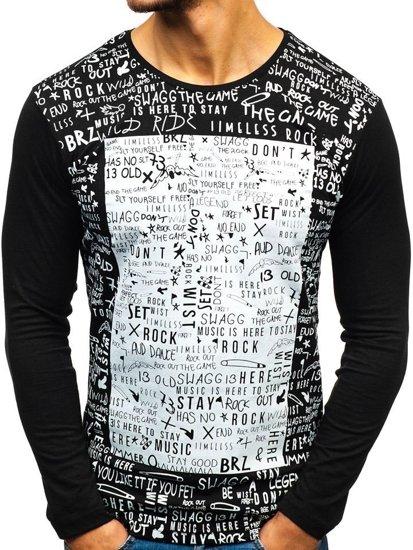 Čierne pánske tričko s dlhými rukiávmi s potlačou BOLF 1213-A