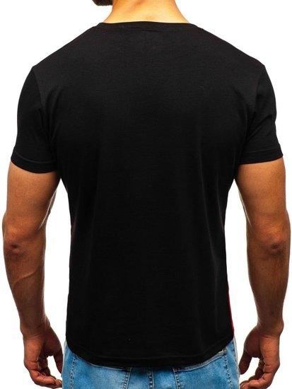 Čierne pánske tričko s potlačou BOLF 10823