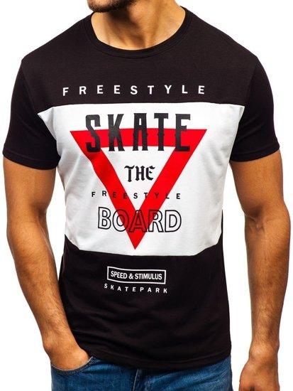 Čierne pánske tričko s potlačou BOLF 10830