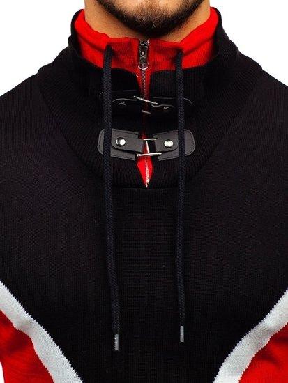 Čierno-červený pánsky sveter BOLF 1011