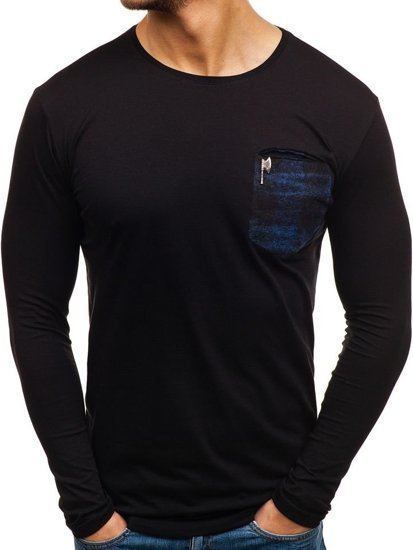 Čierno-modrý pánsky nátelník bez potlače BOLF 355
