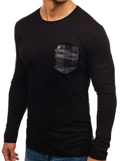 Čierno-šedý pánsky nátelník bez potlače BOLF 355