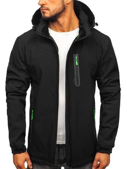 Čierno-zelená pánska softshellová bunda Bolf 12269