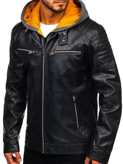Čierno-žltá pánska koženková bunda s kapucňou Bolf 5821