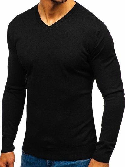 Čierny pánsky sveter s výstrihom do V BOLF 2200