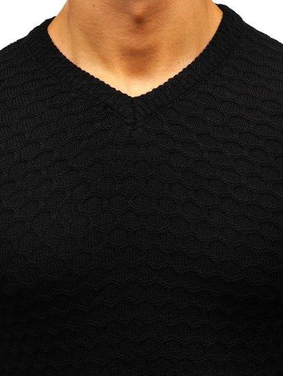 Čierny pánsky sveter s výstrihom do V BOLF 6005